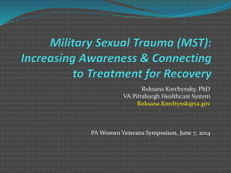 Military Sexual Trauma - Pennsylvania Department of Military and