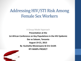 Addressing HIV/STI Risk Among Female Sex Workers