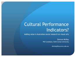 Cultural Performance Indicators? Adding Value in Australian Social