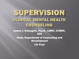 Presentation on Supervision – Mental Health Counseling