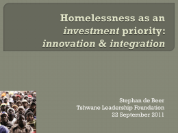 Homelessness as an investment priority: innovation