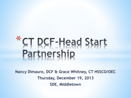 DCF-Head Start Partnership - Connecticut Early Childhood Cabinet