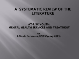 At-Risk Youth Mental Health Services and Treatment
