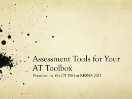 Assessment Tools for Your AT Toolbox