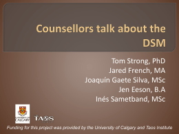 Counsellors talk about the DSM