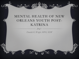 Mental Health of new orleans youth post