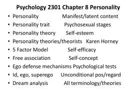 Psychology 2301 Chapter 11 Personality