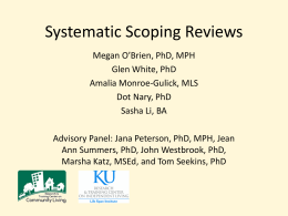 Systematic Scoping Reviews - Research and Training Center on