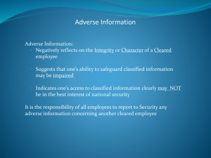 Adverse Information Reporting March 2014