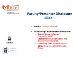 Faculty/Presenter Disclosure Slide 1