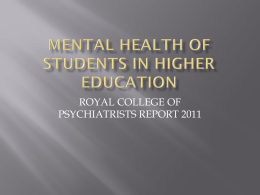 Mental health of students in higher education