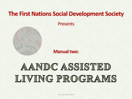 AANDC ASSISTED LIVING PROGRAMS