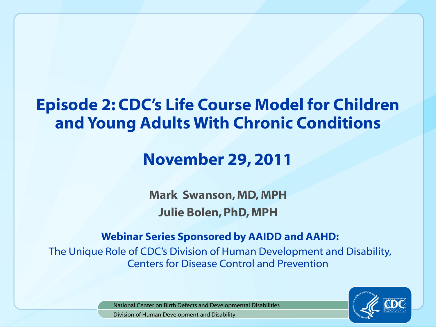 Cdc Says Developmental Disabilities Are >> Episode 2 Ppt