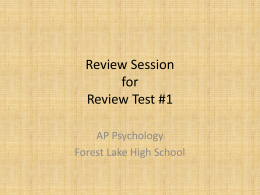Review Session for Review Test 1