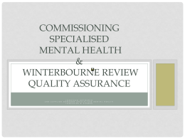 Commissioning specialised mental health and Winterbourne review