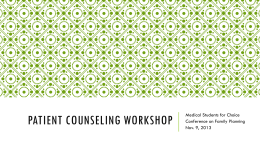 Patient Counseling Workshop - Medical Students for Choice