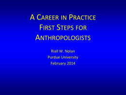 A Career in Practice: First Steps for Anthropologists