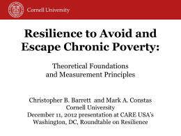 Resilience to Avoid and Escape Chronic Poverty
