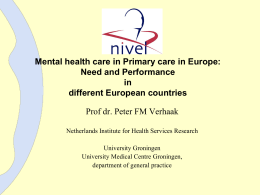 Mental health care in primary care in Europe