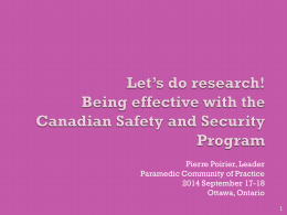 Let*s do research! - Paramedic Chiefs of Canada