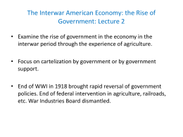 The Interwar American Economy: the Rise of Government: Lecture 2