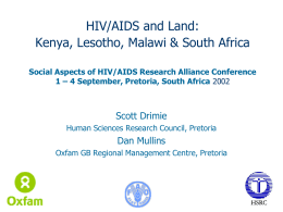 The Impact of HIV/AIDS on Land in Kenya, Lesotho, Malawi and