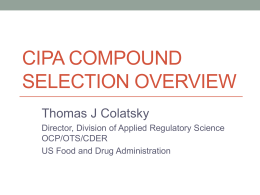 CIPA Compound Selection Overview
