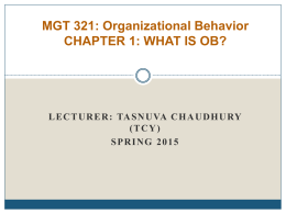 MGT 201: Organizational Behavior Section: 1 & 6
