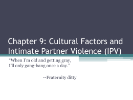 Cultural Factors and Intimate Partner Violence