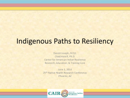 Resiliency - Center for American Indian Resilience