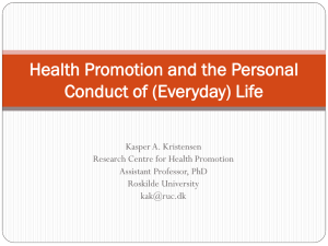 Health Promotion and the Personal Conduct of Everyday Life