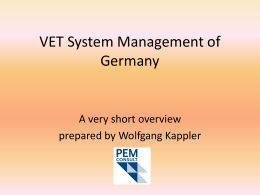 VET System Management in Germany