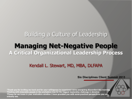 Managing Net-Negative People - Southern Ohio Medical Center