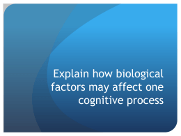 Explain how biological factors may affect one cognitive