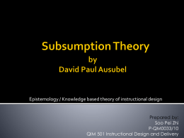 Subsumption Theory by David Paul Ausubel