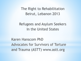 Refugee - International Rehabilitation Council for Torture Victims