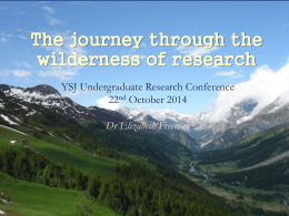 `The journey through the wilderness of research`, Dr Lizzie Freeman