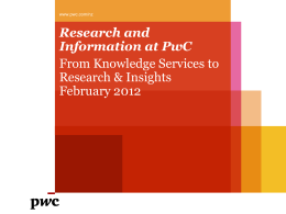 Research and Information at PwC