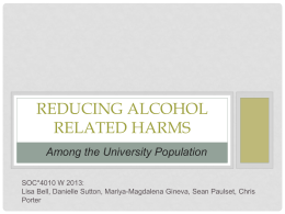 Reducing alcohol related harms among the university population