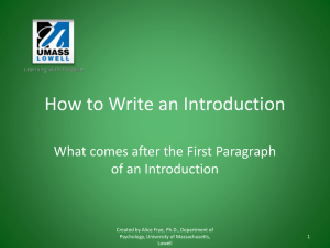 How to write an Introduction - University of Massachusetts Lowell
