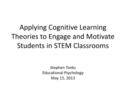 Applying Cognitive Learning Theories to Engage and Motivate