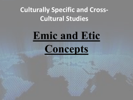 Emic and Etic Approach