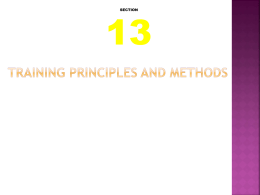 Training Principles and Methods - Mr