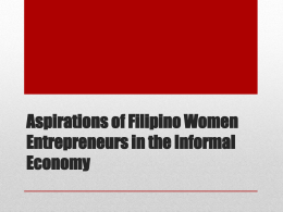 Aspirations of Filipino Women Entrepreneurs in