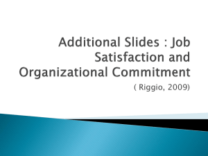 Additional Slides : Job Satisfaction and Organizational