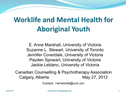 Worklife and Mental Health for Aboriginal Youth