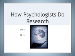 Research Methods #1 (ppt notes)