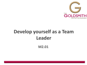 Develop yourself as a Team Leader M2.01