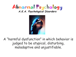 Abnormal Psychology - AP Psychology Community