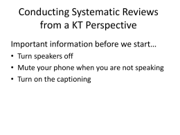 The Systematic Review Process - uw msktc